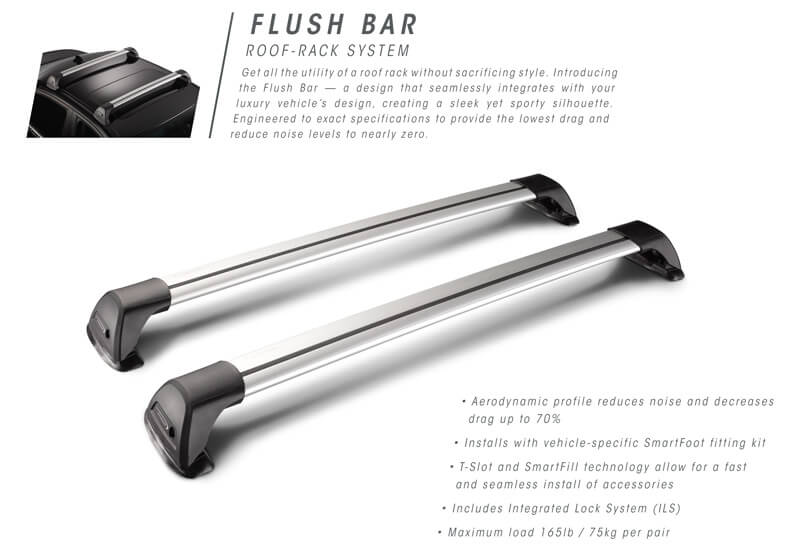 Whispbar flush bars have the roof bar feet at the end of the bar.