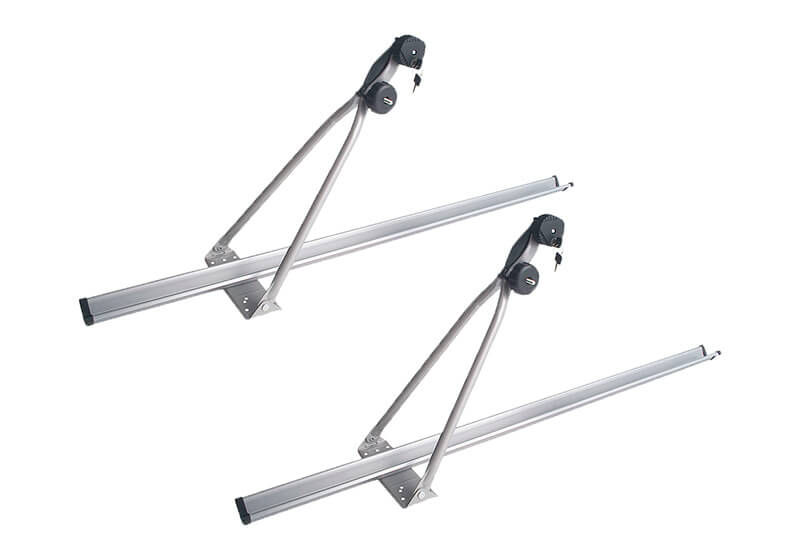 :2 x black CRUZ Bici-racks bike carriers with locking roof bars