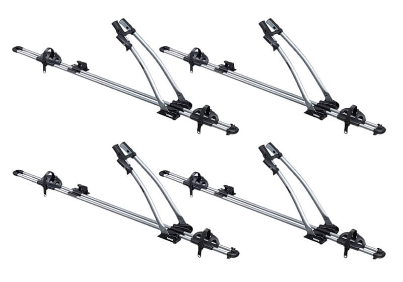 :4 x Thule FreeRide 532 bike carriers with locking roof bars