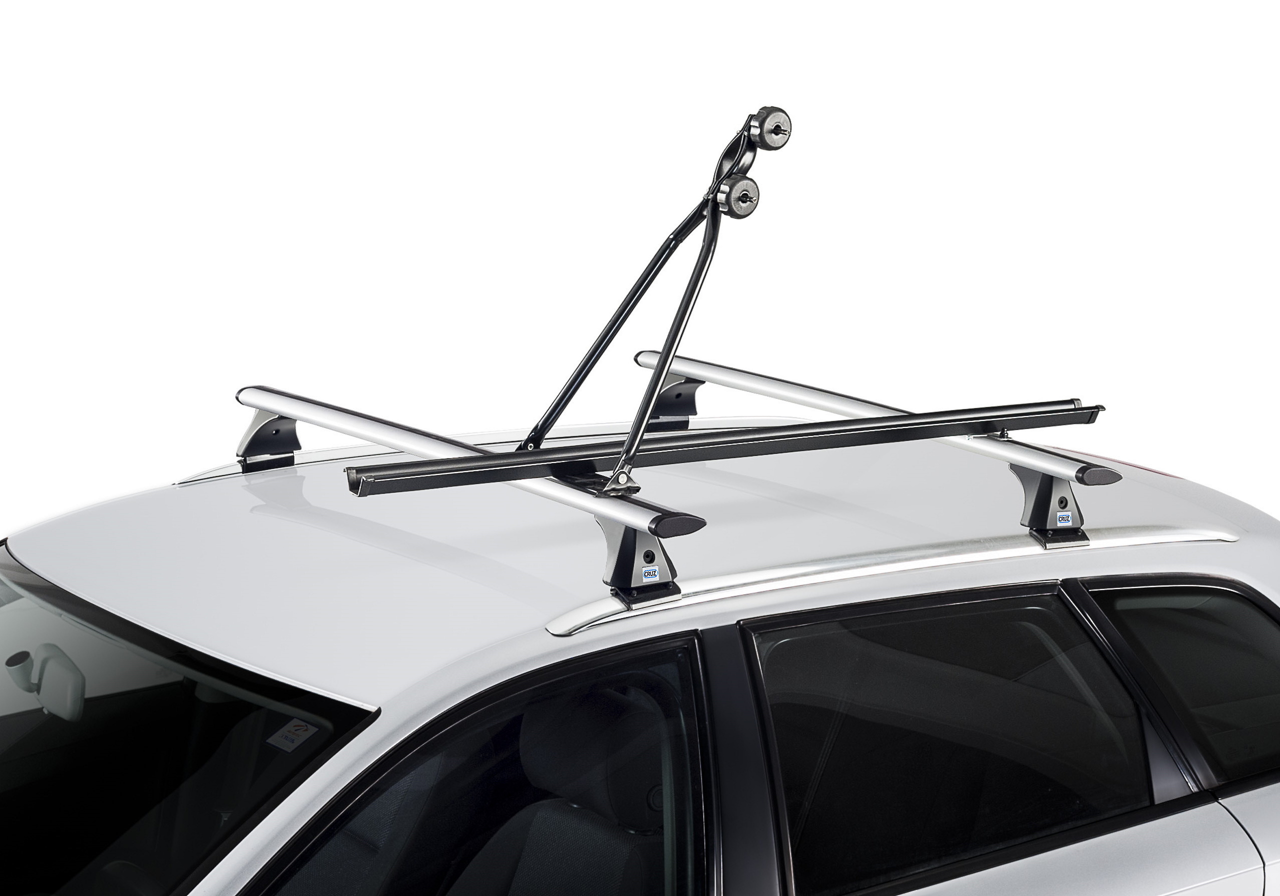 4 x black CRUZ Bici-racks with roof bars