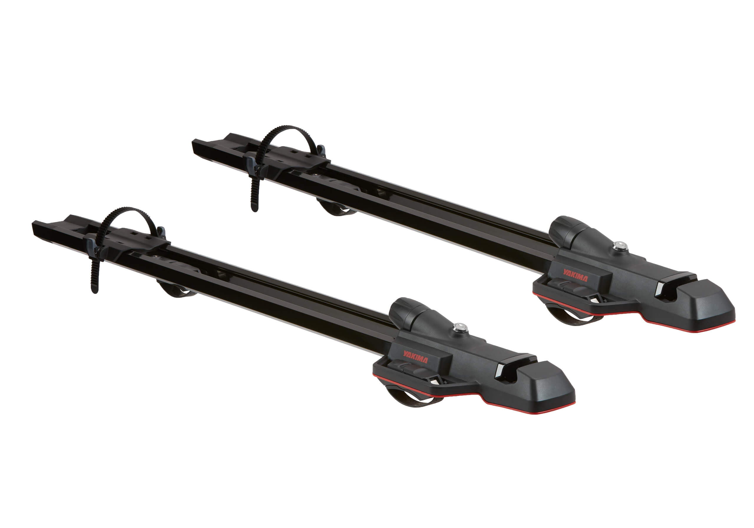 :2 x black Yakima HighSpeed 8002125 forkmounts with locking roof bars