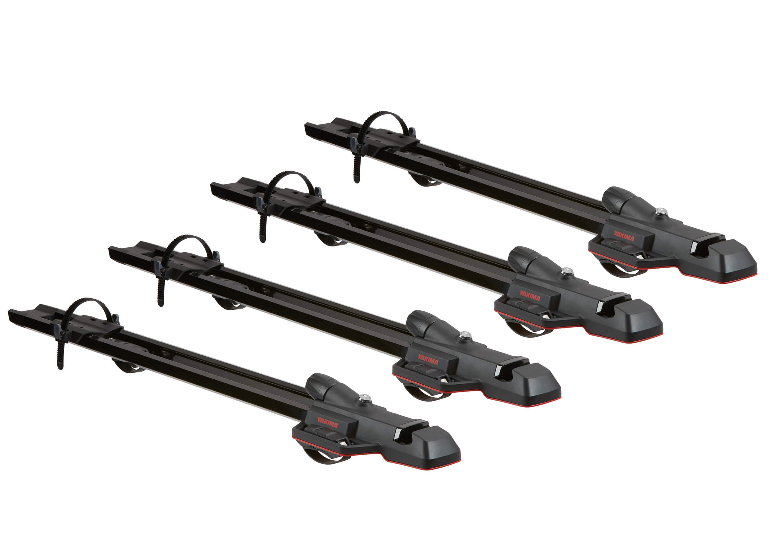 :4 x black Yakima HighSpeed 8002125 forkmounts with locking roof bars