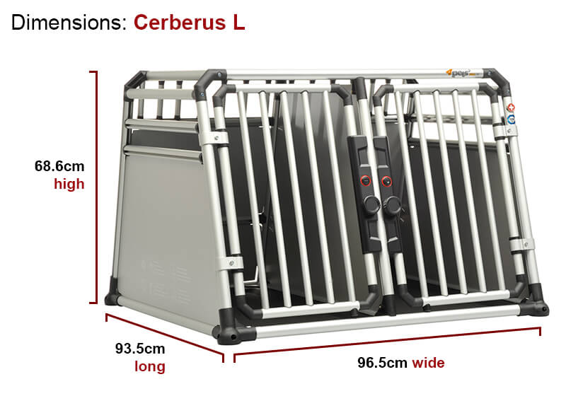 4pets ProLine Cerberus crash tested double dog cage crate for 2 dogs aluminium large BGPL053