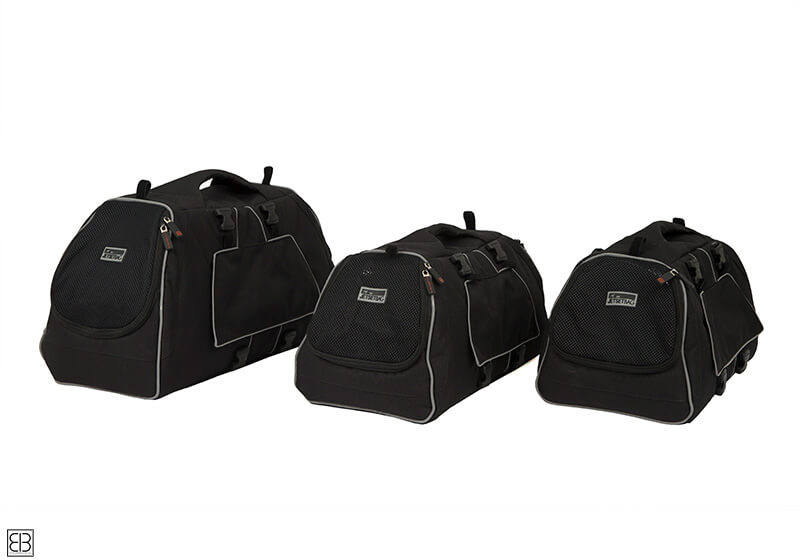 PetEgo EB Emanuele Bianchi Design Jet Set small pet carrier in black, medium size EBJSM-BL
