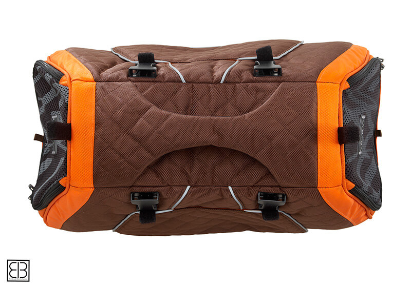 PetEgo EB Emanuele Bianchi Design Jet Set small pet carrier in orange and brown, medium size EBJSM-O
