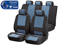 Volkswagen VW Polo three door (2009 onwards) :Walser Aerotex car seat covers, Aquilo black and blue, 17100