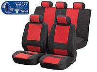 Volkswagen VW Polo three door (2009 onwards) :Walser Aerotex car seat covers, Aquilo black and red, 17101