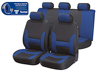 Volkswagen VW Polo three door (2009 onwards) :Walser Aerotex car seat covers, Collada black and blue, 17103
