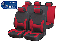 Volkswagen VW Polo three door (2009 onwards) :Walser Aerotex car seat covers, Collada black and red, 17104