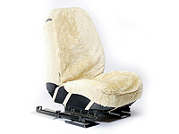 Renault Clio three door (2005 onwards) :Walser car seat cover (1), real sheepskin, beige, 19126