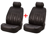 Renault Clio three door (2005 onwards) :Walser car front seat covers black leather (side airbag compatible) x 2 SPECIAL OFFER - WL19601-2