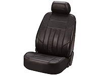 Volkswagen VW Polo three door (2009 onwards) :Walser car front seat cover black leather (side airbag compatible) - WL19601