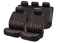 Vauxhall Corsa three door (2001 to 2006) :Walser car seat covers, black leather full set - WL19620