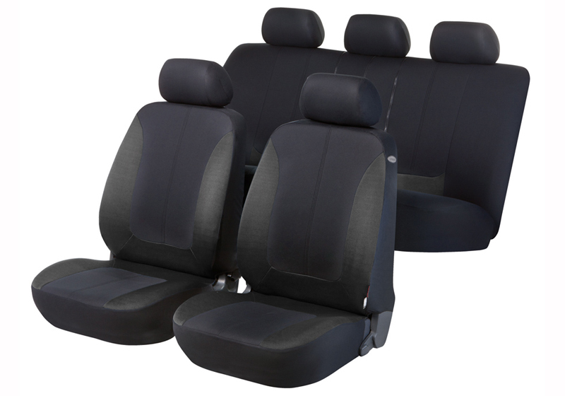 Toyota Land Cruiser Colorado five door (2000 to 2003):Walser seat covers, full set, Norfolk black and dark grey, 11937