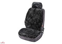 Kia Rio five door (2005 to 2011) :Walser ZIPP-IT car seat cover, real sheepskin, anthracite black, 20020