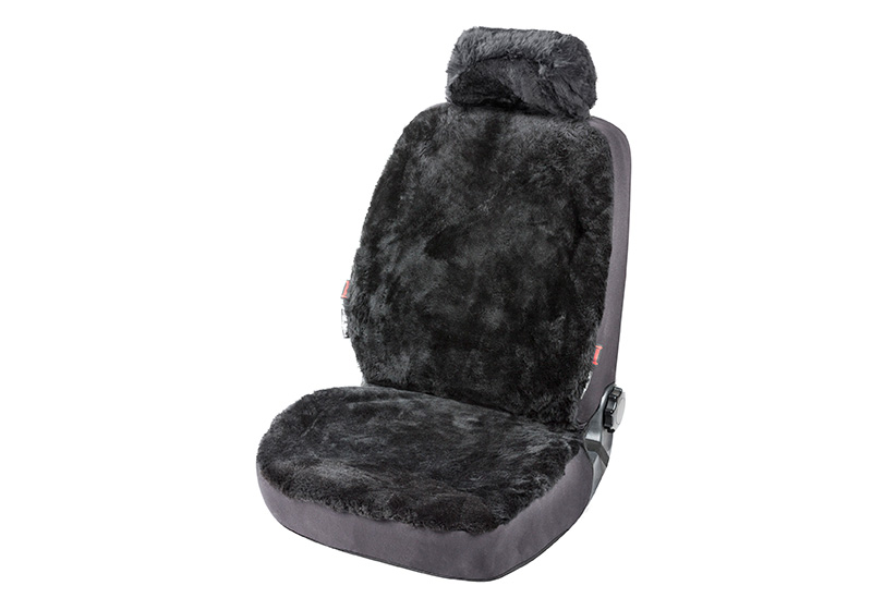 Volvo V70 estate (2000 to 2007):Walser ZIPP-IT car seat cover, real sheepskin, anthracite black, 20020