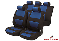 Ford Escort three door (1995 to 1999) :Walser velours seat covers, full set, Bozen blue, 12397