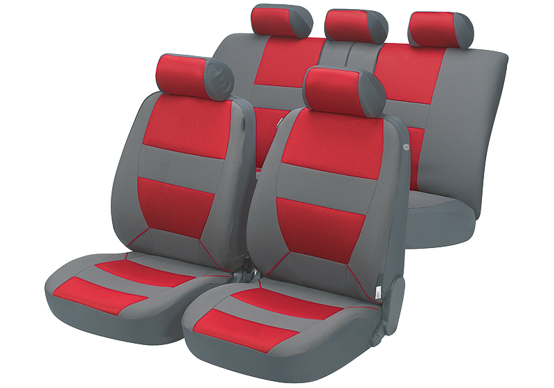 Toyota Land Cruiser Colorado five door (2000 to 2003):Walser velours seat covers, full set, Bozen red, 12398