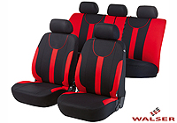 Ford Escort three door (1995 to 1999) :Walser velours seat covers, full set, Dorset red, 11965