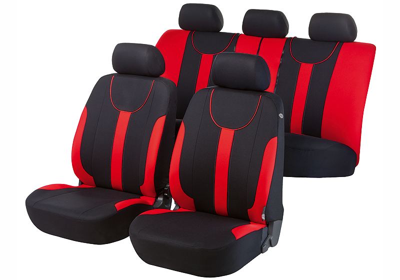 Toyota Land Cruiser Colorado five door (2000 to 2003):Walser velours seat covers, full set, Dorset red, 11965