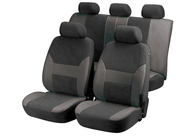 Toyota Land Cruiser Colorado five door (2000 to 2003):Walser velours seat covers, full set, Dubai anthracite, 12417