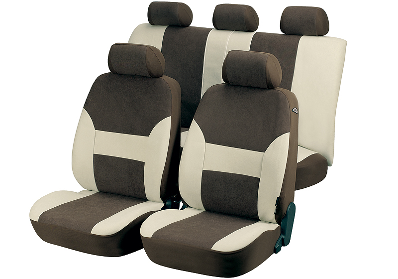 Hyundai Santa Fe (2000 to 2006):Walser velours seat covers, full set, Dubai brown, 12416