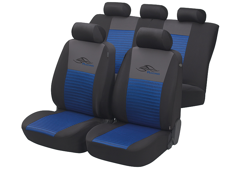 Toyota Land Cruiser Colorado five door (2000 to 2003):Walser velours seat covers, full set, Racing blue, 12466