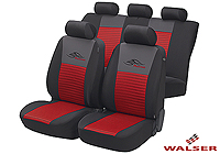 Ford Escort three door (1995 to 1999) :Walser velours seat covers, full set, Racing red, 12467