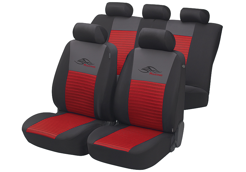Toyota Land Cruiser Colorado five door (2000 to 2003):Walser velours seat covers, full set, Racing red, 12467