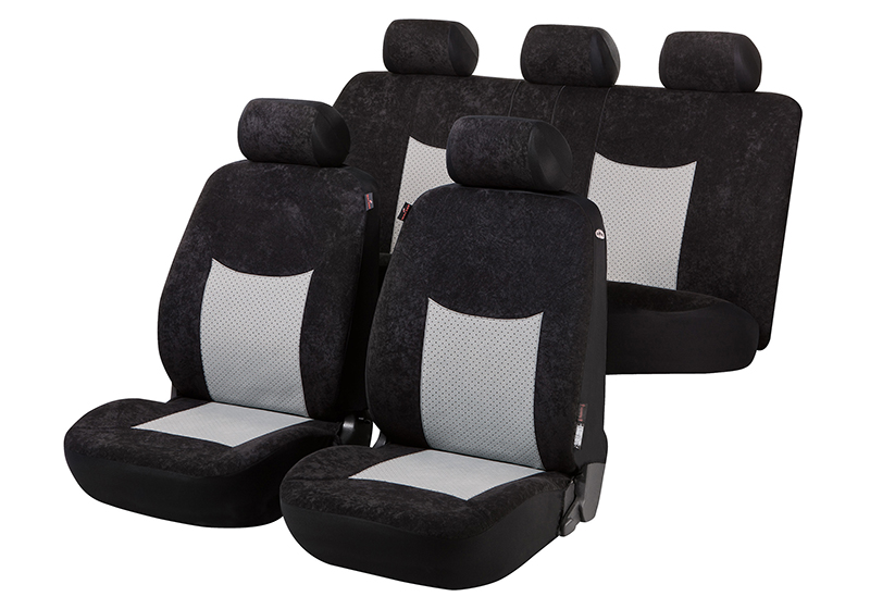 Toyota Land Cruiser Colorado five door (2000 to 2003):Walser seat covers, full set, Devon black and grey, 11971