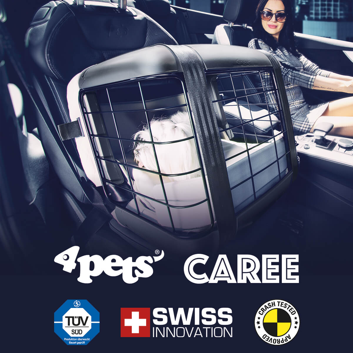 4pets Caree Dog and Cat Car Seat Travel Box
