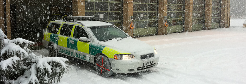 AutoSock Car Snow Socks fitted to emergency vehicle
