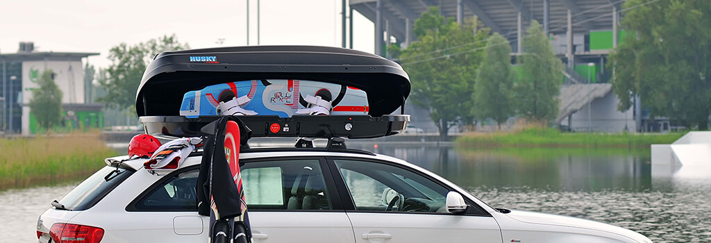 Kamei Husky Roof Box carrying wake boards and water skis