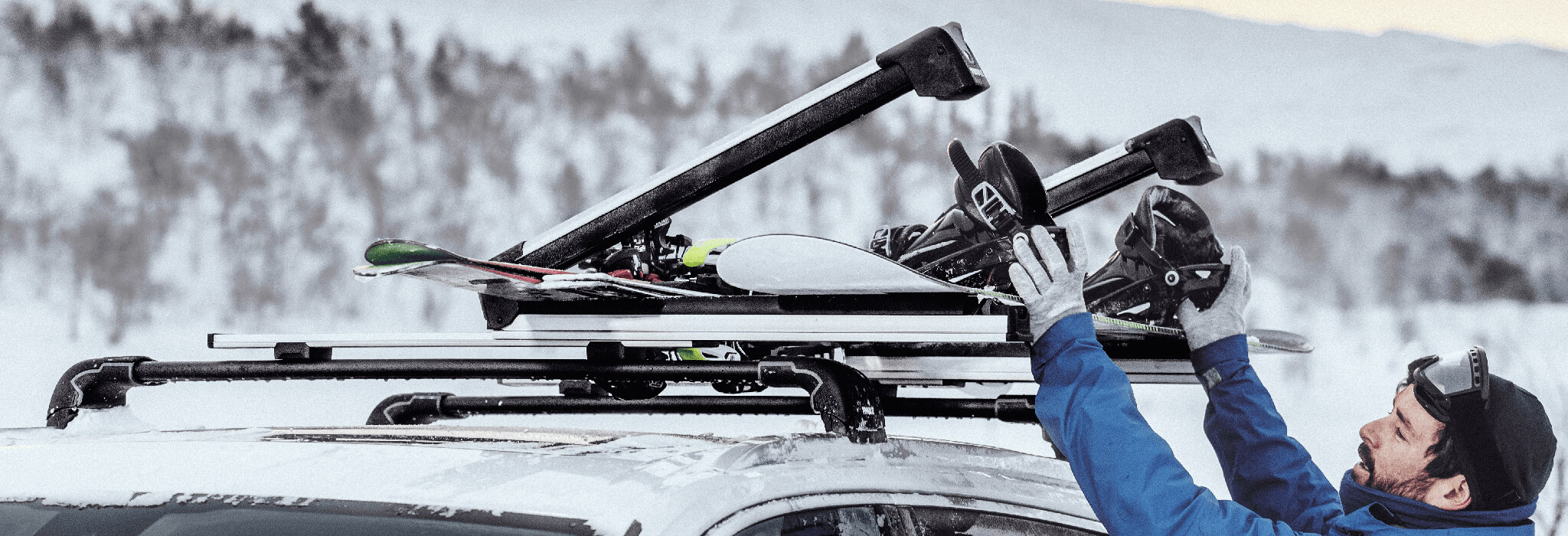Ski and Snowboard Carrier in use