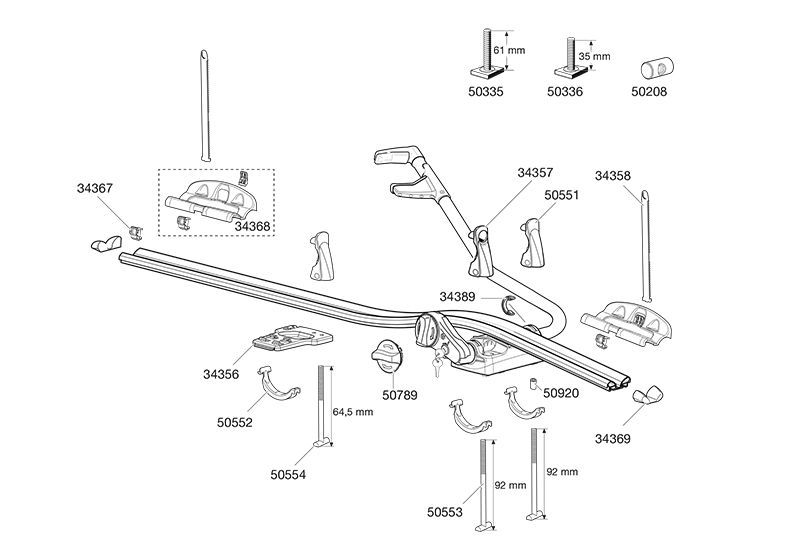 Thule ProRide 591 Roof Mounted Cycle Carrier Spare Parts ...