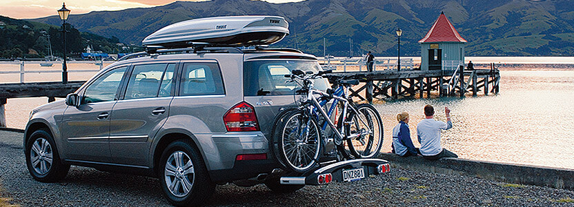 Bike Racks and Cycle Carriers at The Roof Box Company; Roof mounting car bike carrier;Rear mounting bike car rack;Tow ball mounting cycle car racks;Wheel support bike racks;Thule, Atera, MaxxRaxx, Pendle, Saris