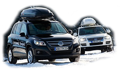 VW Tiguan and Touareg with KAMEI Corvara roof boxes