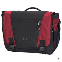 Spire Endo XL laptop messenger bag in Chili red/black